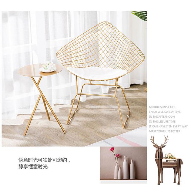 金色鐵藝簍空鑽石椅 2
